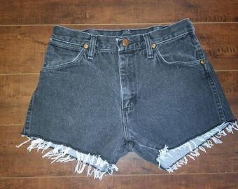 Wrangler Shorts, Wranglers Jean cut off shorts, cutoffs Jean Shorts   W 28 waist  faded black