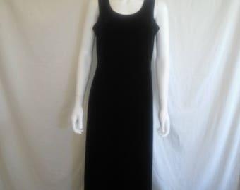 90s black long velvet dress size 10