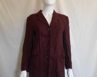 Closing Shop 40%off SALE 90's Vintage DKNY Donna Karen New York Linen button up Blazer Jacket, Made in ITALY