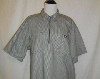 Closing Shop 40%off SALE Ben Davis Monkey Brand Front Zip Collar Brown White Stripe Shirt Mens