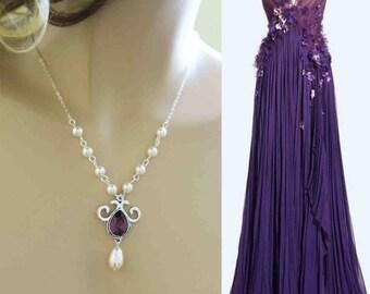 Purple Bridesmaid Necklace Swarovski Crystal Plum Wisteria Regency Teardrop Pearl Grape Bridal Jewelry Aubergine Wedding Eggplant Orchid
