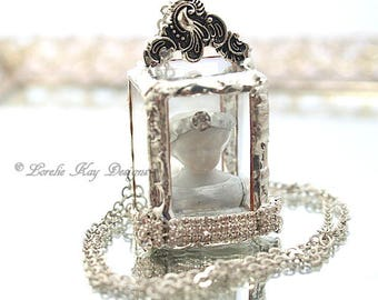 Frozen Charlotte Doll Soldered Box Ornament Pendant Decoration Miniature Glass Box  One-of-a-Kind Assemblage Necklace