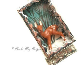 Fawn in Snow Necklace Winter Holiday Tiny Deer Christmas Necklace Soldered Box Mixed Media One-of-a-Kind Diorama Pendant