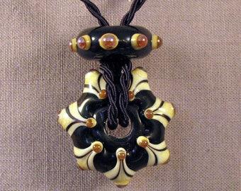 Handmade Lampwork Beads by Monaslampwork - Black Star Pendant - Lampwork Glass Beads by Mona Sullivan Xmas Artisan Beads Boho Tribal Organic