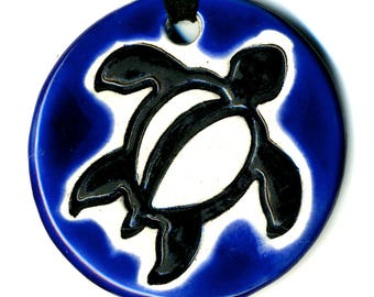 Hawaiian Sea Turtle Ceramic Necklace in Cobalt Blue