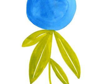 Simple Blue Flower Art Print - Lisa Congdon