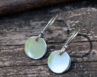 Tiny disc sterling silver dangle earrings