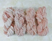 Handspun Art Yarn Knitting Weavers Pack 4 Mini Skeins Collection peach pink dahlia