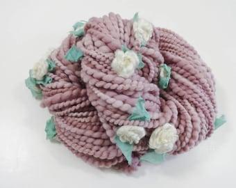 Handspun Art Yarn Dusty Mauve Roses with Felted Flowers 50 yards Flower Yarn