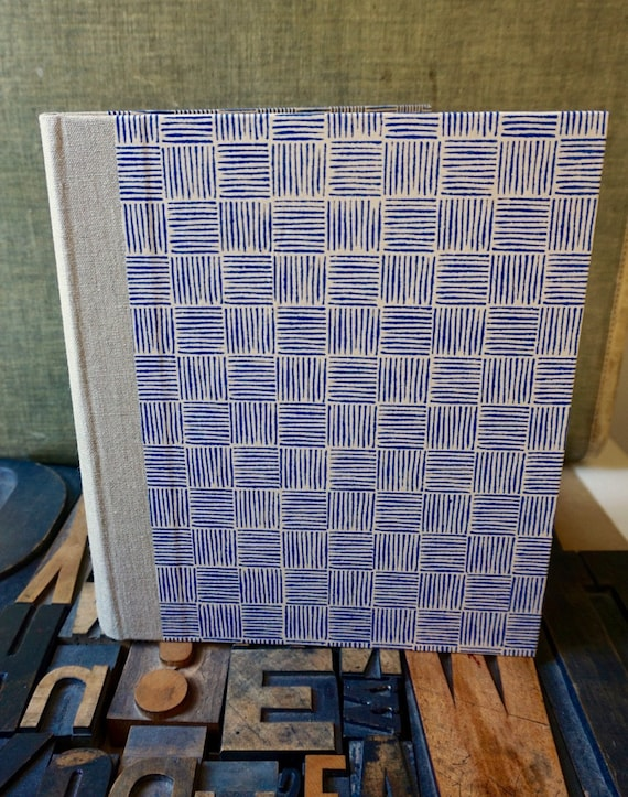 Photo Album - Large with Blue Basket Weave Pattern