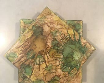 Colorful Alcohol Ink Tile Coasters Set of Four Handpainted Green Yellow and Brown