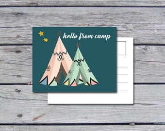 Camp Postcard (Set), Summer Camp Stationery, Camp Stationary, For Kids, Summer Camp, Letters from Camp