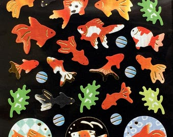 Goldfish Stickers - Fish Stickers - Japanese Stickers - Traditional Japanese Fish  (S234)