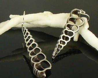 SALE SALE - Shell Earrings, Shell Earring, OctopusME, Sterling Silver Earring - Opposite Turritella Shell Earrings