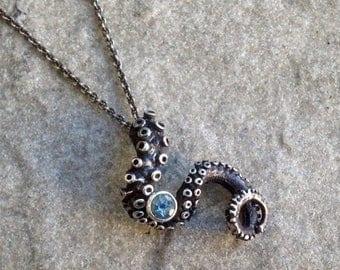 SALE SALE - Aquamarine Tentacle Pendant, OctopusME, Octopus Jewelry, Tentacle Jewellery, sterling silver, Tentacle Jewelry, Kraken, Spectre