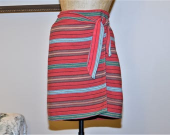 "80's Wrap Skirt,Small,Med,Waist 25"", by Harold's,Red,,Black,Turquoise,Pink,Yellow,Woven 100% Cotton Blanket Pattern,Made in USA"