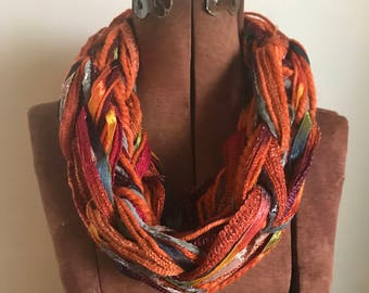 Pumpkin Orange textured handknit bulky cowl, ready to ship, bulky lightweight warm oversized cowl