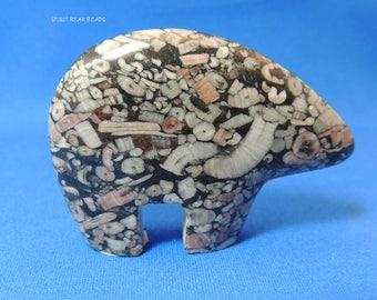 Crinoid Fossil Marble black & Pink Zuni Bear 60 mm Stand alone New Zuni Bears Gemstone