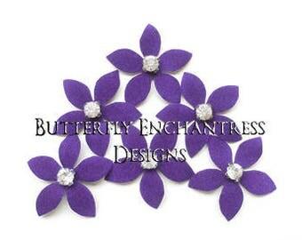 Bridal Hair Pins, Wedding Hair Accessories, Rustic Floral Headpiece, Bridesmaid Hair Piece Gift - 6 Purple Thea Stephanotis Hair Flowers