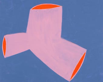 Minimal Abstract Figurative Shape  Painting on Board Pink Trifecta