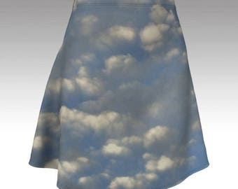 Little fluffy clouds fit and flare skirt blue skies mini size xs s m l xl photo skirt nature cute alternative clothing sky stretchy unique
