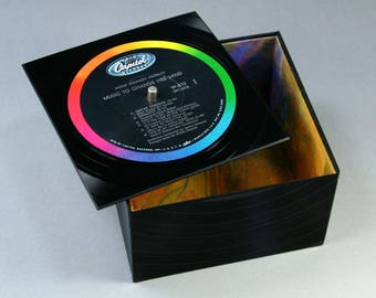 Groovy Little Box with a Lid - Handmade from Recycled Record Music To Change Her Mind