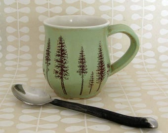 Ceramic Mug - Ponderosa Pine Trees -  Coffee Mug - Large Mug - Hand Thrown Mug