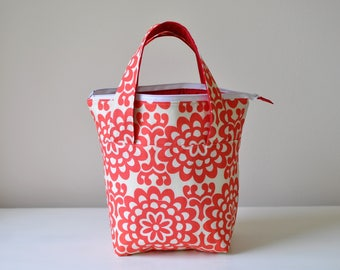 Insulated Lunch Bag - Red and White Floral Thermal Bag - Zippered Bag