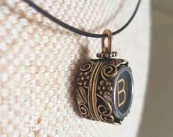 Dual key spinner typewriter key pendant / custom typewriter key necklace / choose 2 initials / antique gold floral setting / steel neckwire
