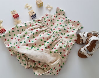 Baby Playsuit With Skirt, Baby Dress, Christmas Dress, Babys First Christmas Dress, Fairy Lights Dress