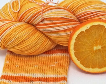 "hand dyed self striping sock yarn - ""Orange"""