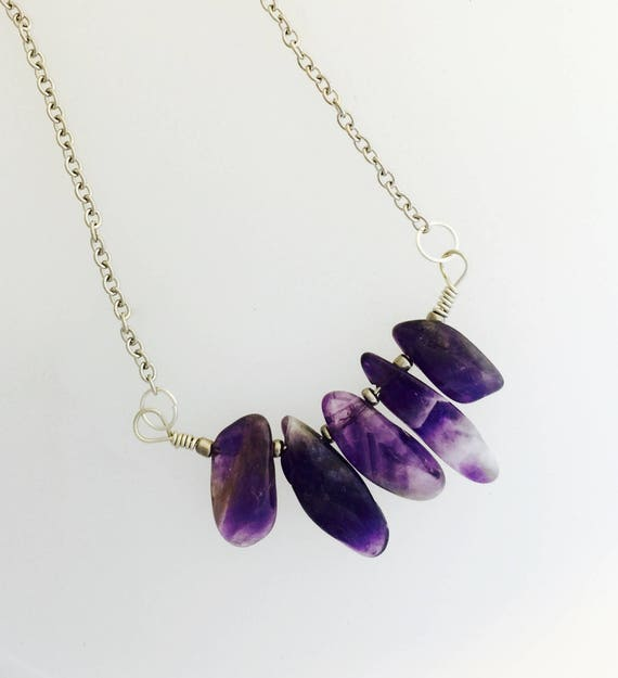 Amethyst Bar Necklace-Minimalist-Healing Crystal-February Birthstone-Crown Chakra-Chevron Amethyst-Natural Stone-Gemstone-Vegan Necklace