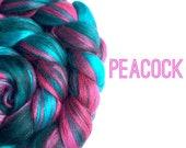 Blended Merino Wool Top - Peacock - 100g / 3.5oz - felting, spinning, weaving, needle felting