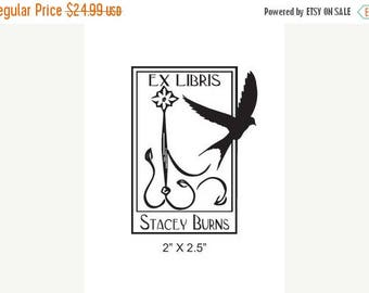 Super Summer Sale Swallow in Antique  Woodcut Floral Frame Ex Libris Library Personalized Rubber Stamp H15