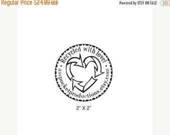Xmas in July Custom Recycle Heart Recycled With Love Rubber Stamp AD150