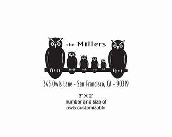 Xmas in July Owl Family Custom Return Address Rubber Stamp AD388
