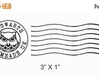 Xmas in July Hogwarts Postmark and Owl Post Faux Postage Stamp Rubber Stamps Set 215