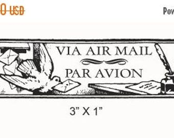 Xmas in July Bird With a Letter Via Air Mail - Correo Aereo - Par Avion Mail Art Rubber Stamp 214