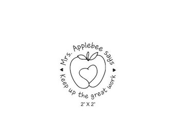 Xmas in July Teachers Apple Heart Custom Rubber Stamp Classroom Homework Encouragement AD330