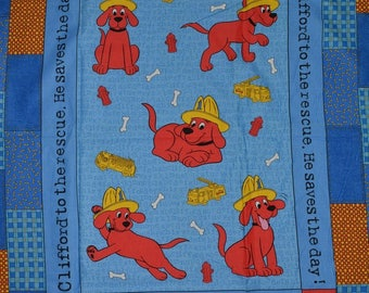 Clifford fabric panel Big Red Dog FIREMAN fabric blanket quilt panel