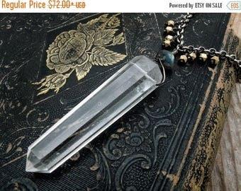 double terminated quartz crystal necklace, crystal spike pendant, clear quartz necklace, double point crystal, crystal necklace, crystal