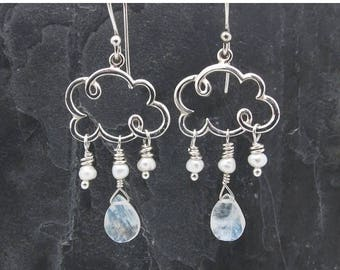 cloud earrings, dangle earrings, gift for her, raindrop earrings, rain earrings, weather jewelry, silver cloud earrings, cloud jewelry,
