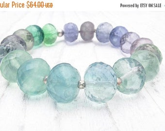 fluorite bracelet, gemstone bracelet, rainbow fluorite bracelet, fluorite jewelry, gift for her, luxury boho bracelet, green, blue, purple