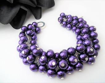 Purple Pearl Bracelet, Cluster Bracelet, Chunky Bracelet, Gift For Her, Purple Bracelet, Ready to Ship, Cadbury Purple Colour