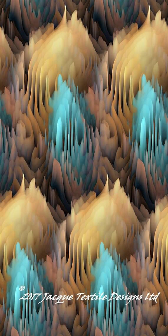 Hand Created Maze Teal Brown Velvet Upholstery Fabric Fiber Art Modern Fabric