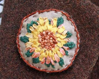 Sunflower Silk Ribbon Embroidery Brooch Pin