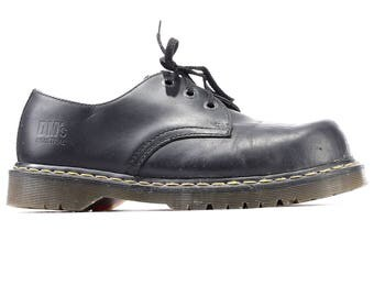 Dr Martens Platform Shoes 90s Black Leather Men Steel Toe Shoes Industrial Docs Martens Wide Fit Hipster 3 Eyelet Men US 9, Eur 43, UK 8.5