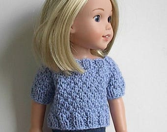 "14.5"" Doll Clothes Knit Sweater with Short Sleeves Handmade to fit Wellie Wishers dolls - Light Blue Short Sleeve Sweater with three buttons"