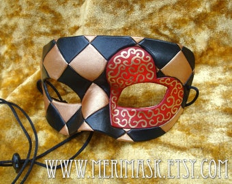 READY TO SHIP Knave Of Hearts Leather Mask...  harlequin heart valentine masquerade mardi gras halloween burning man harlequin costume