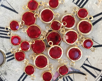 Vintage Channel Set Ruby Red Glass Connector Links